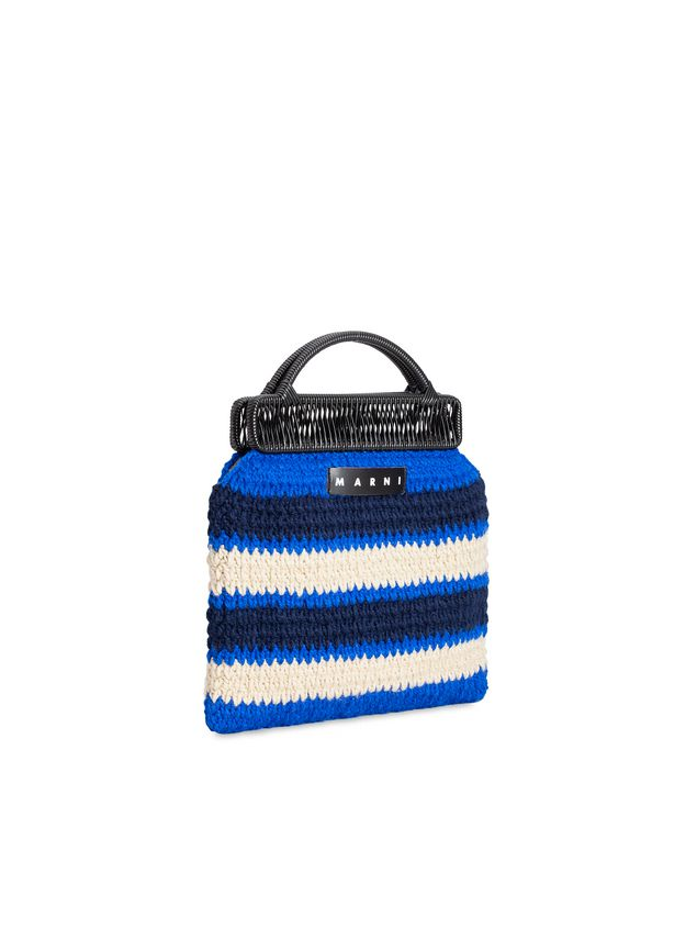 Marni MARNI MARKET frame bag in with striped crochet motif in dark blue, cornflower blue and white Man - 2