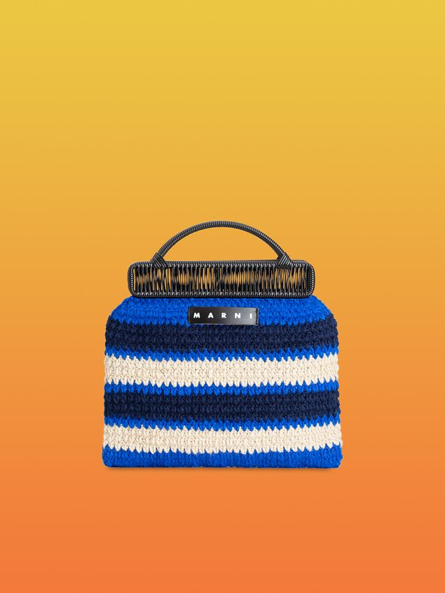 Marni MARNI MARKET frame bag in with striped crochet motif in dark blue, cornflower blue and white Man - 1