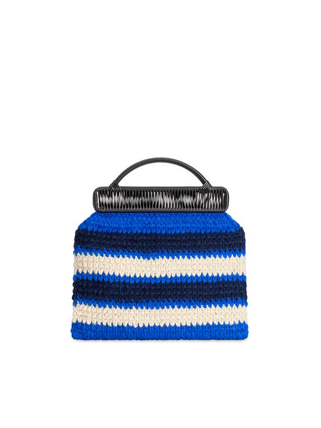 Marni MARNI MARKET frame bag in with striped crochet motif in dark blue, cornflower blue and white Man - 3