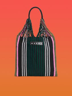 Marni MARNI MARKET shopping bag in polyester with hammock-style handle in black, green, gray and pink Man
