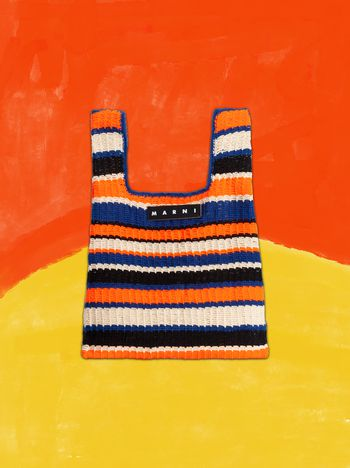 Marni MARNI MARKET shopping bag in acrylic-cotton blend with striped motif in orange, black, white and blue Man f