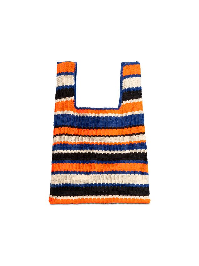 Marni MARNI MARKET shopping bag in acrylic-cotton blend with striped motif in orange, black, white and blue Man