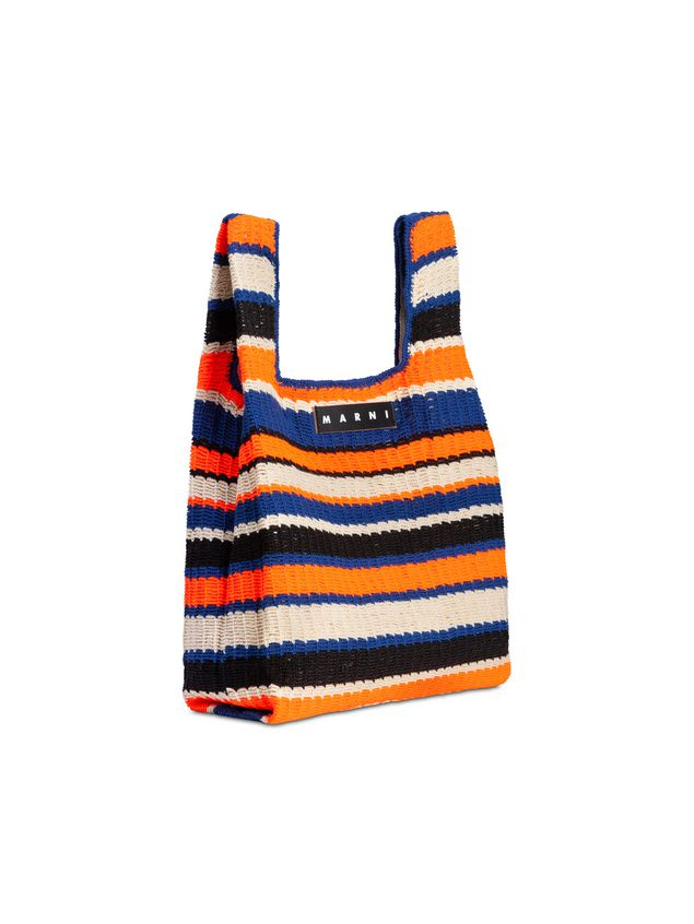 Marni MARNI MARKET shopping bag in acrylic-cotton blend with striped motif in orange, black, white and blue Man - 2