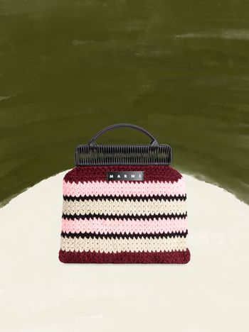 Marni MARNI MARKET frame bag with striped crochet motif in pink, burgundy, white and black Man f