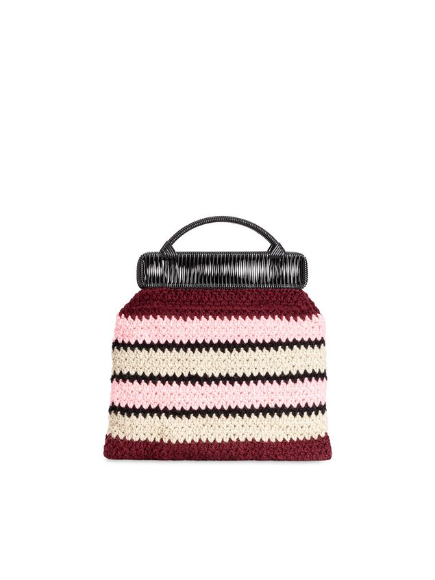 Marni MARNI MARKET frame bag with striped crochet motif in pink, burgundy, white and black Man