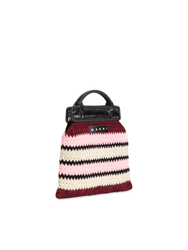 Marni MARNI MARKET frame bag with striped crochet motif in pink, burgundy, white and black Man - 2