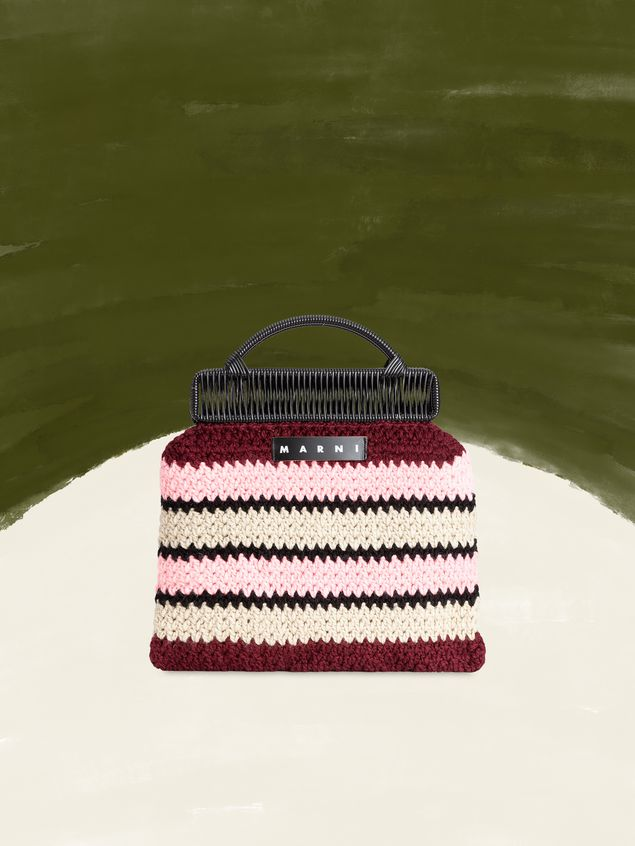 Marni MARNI MARKET frame bag with striped crochet motif in pink, burgundy, white and black Man - 1