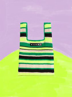 Marni MARNI MARKET shopping bag in acrylic-cotton blend with striped motif in yellow, green, black and white Man
