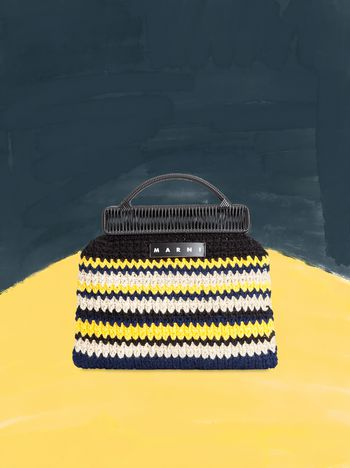Marni MARNI MARKET frame bag with striped crochet motif in yellow, white, black and blue Man f