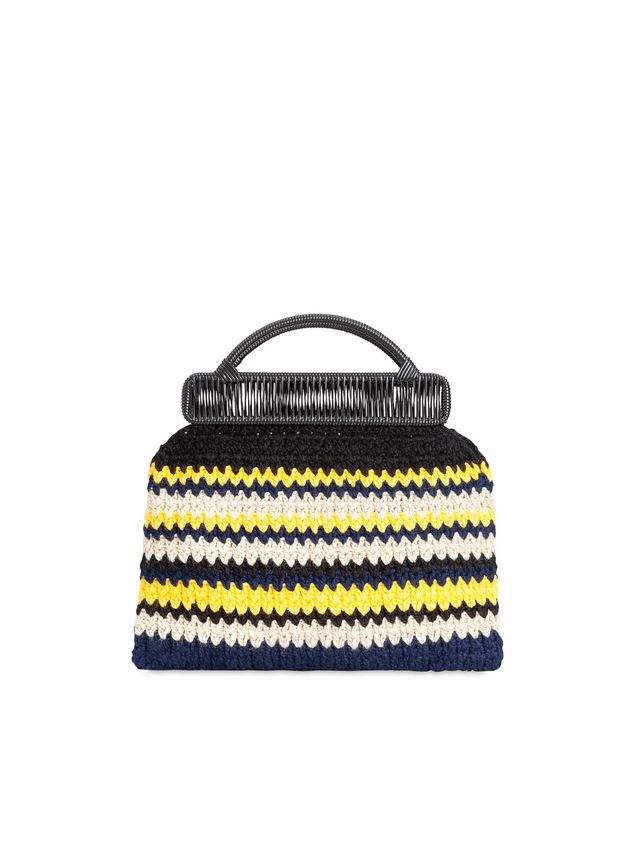 Marni MARNI MARKET frame bag with striped crochet motif in yellow, white, black and blue Man