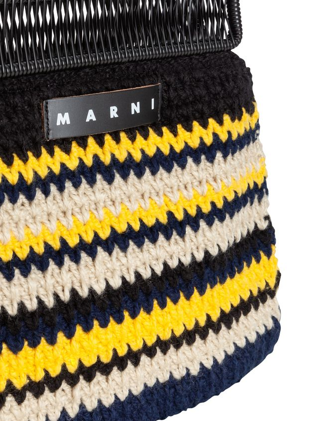 Marni MARNI MARKET frame bag with striped crochet motif in yellow, white, black and blue Man - 4