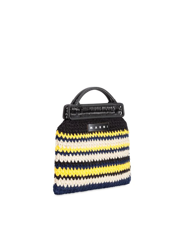 Marni MARNI MARKET frame bag with striped crochet motif in yellow, white, black and blue Man - 2