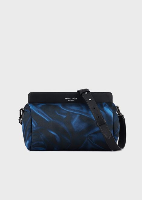 Satin shoulder bag with a swirling print