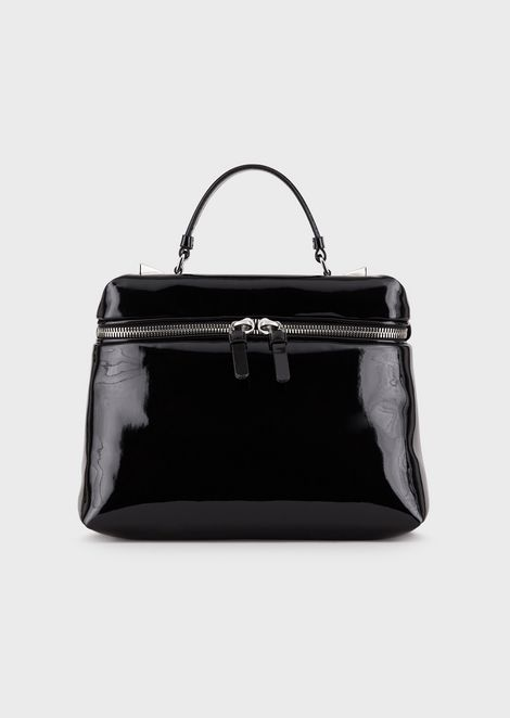 Padded, faux patent leather bauletto bag
