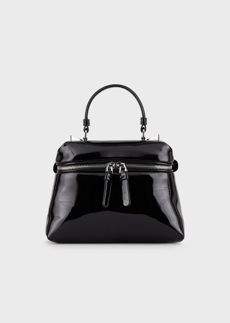 Mini bauletto bag with padded, faux patent leather