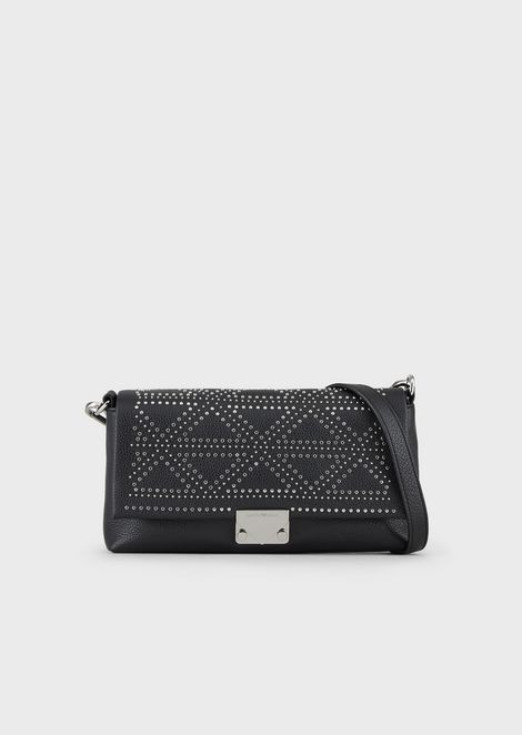 Leather shoulder bag with decorative mini studs