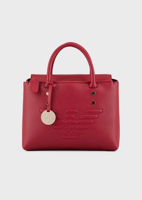 Handbag with embossed maxi logo and shoulder strap