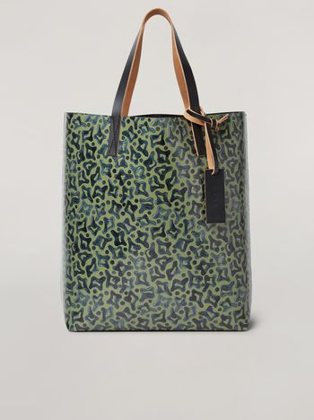 Marni Coated PVC shopping bag in black and Camo Cells print Man f