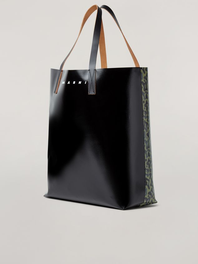 Marni Coated PVC shopping bag in black and Camo Cells print Man