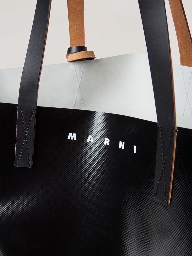 Marni Coated PVC shopping bag in black and Camo Cells print Man - 5