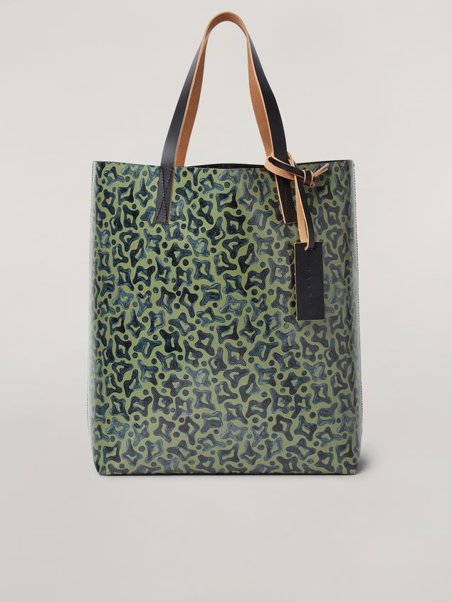 Marni Coated PVC shopping bag in black and Camo Cells print Man - 1