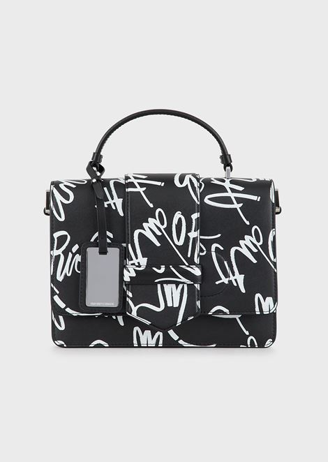 Shoulder bag in Vacchetta leather with mural print