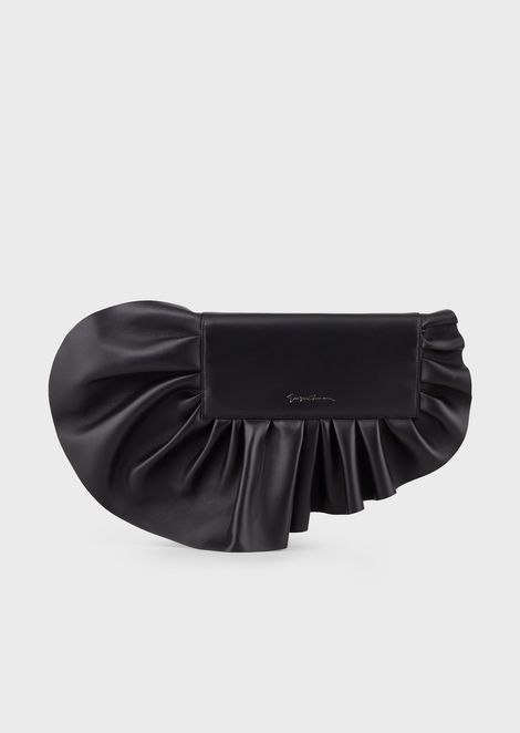 Leather clutch with oversized ruffle