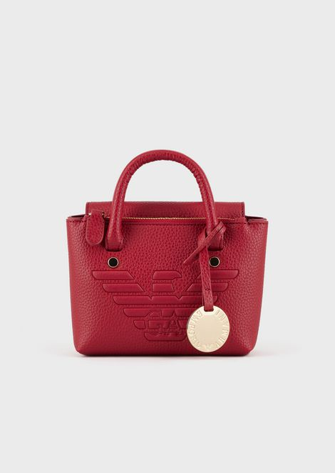 Mini handbag with embossed maxi logo and shoulder strap