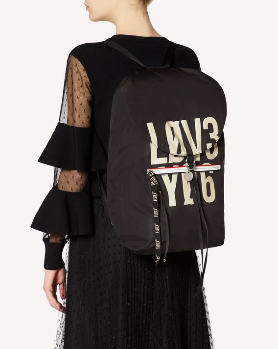 REDValentino ENCRYPTED LOVE NOTES RED PACKER BACKPACK