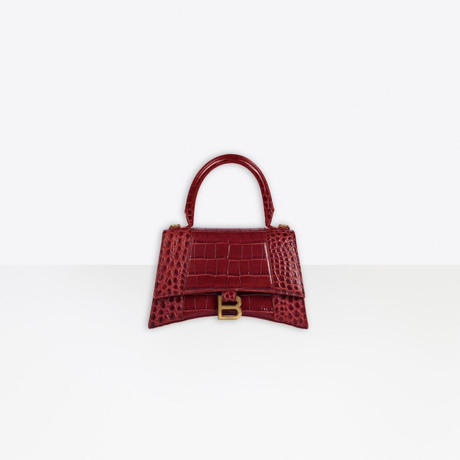 Hourglass Small Top Handle Bag BURGUNDY