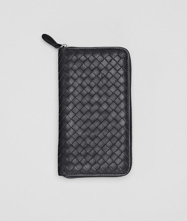 BOTTEGA VENETA Nero Intrecciato Nappa Zip Around Wallet Zip Around Wallet D fp