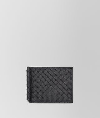BI-FOLD WALLET WITH MONEY CLIP IN NERO INTRECCIATO VN