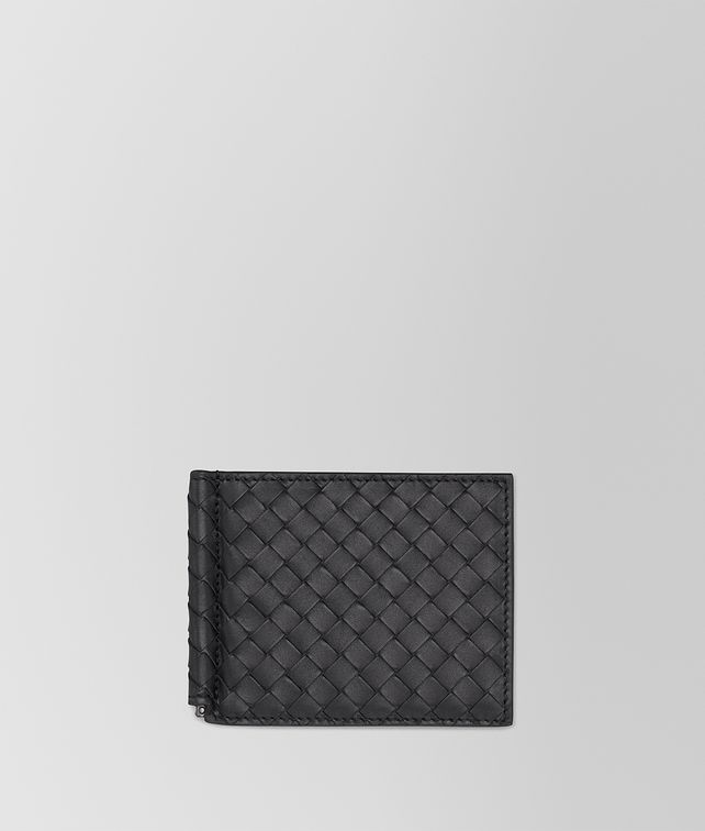 BOTTEGA VENETA BI-FOLD WALLET WITH MONEY CLIP IN NERO INTRECCIATO VN Small Wallet Man fp