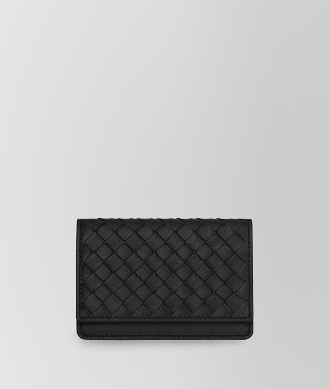 BOTTEGA VENETA CARD CASE IN NERO INTRECCIATO NAPPA Card Case or Coin Purse Man fp
