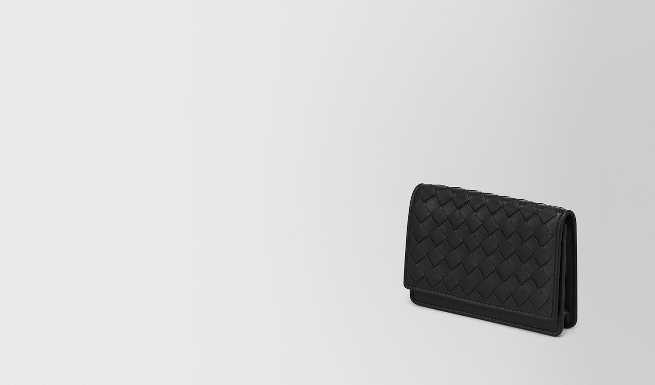 porta carte in intrecciato nappa nero landing