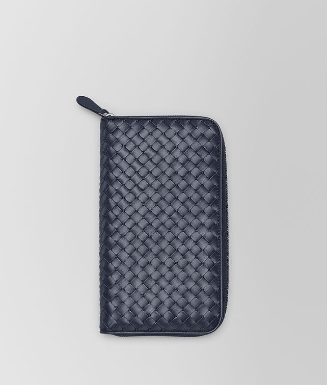 BOTTEGA VENETA ZIP AROUND WALLET IN LIGHT TOURMALINE INTRECCIATO VN Zip Around Wallet Man fp