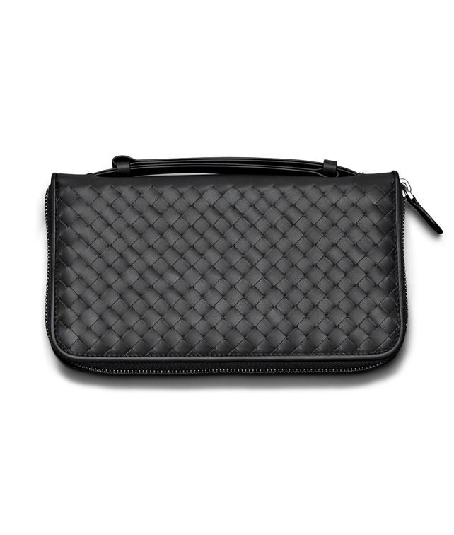 BOTTEGA VENETA DOCUMENT CASE IN NERO INTRECCIATO VN Zip Around Wallet E fp