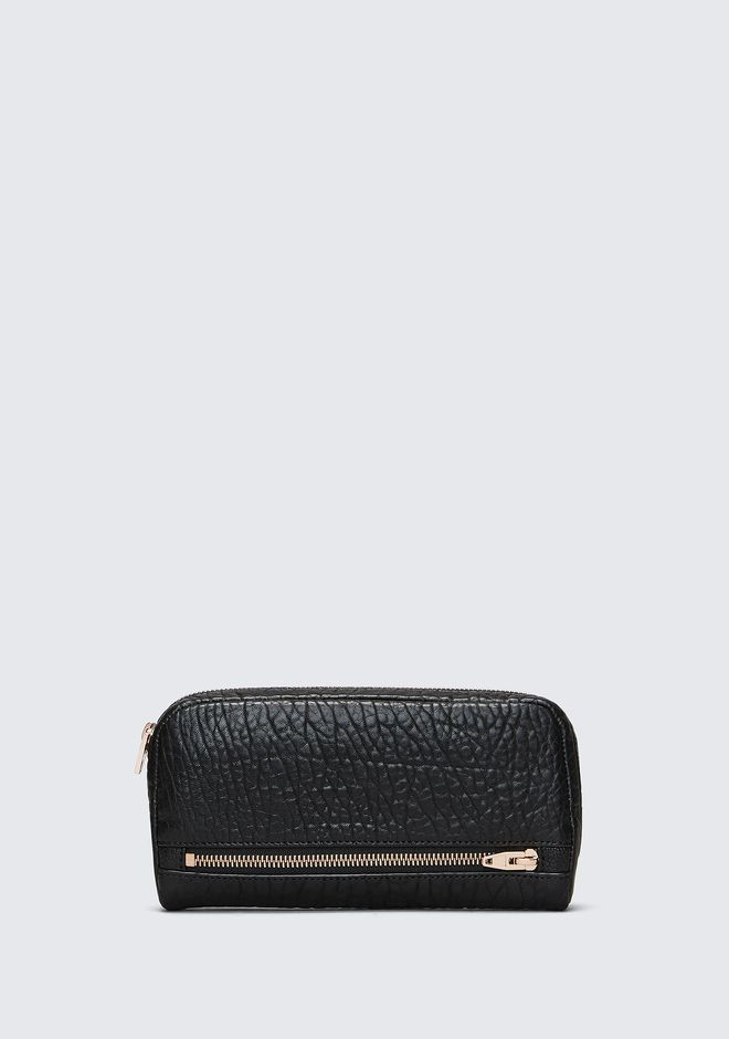 ALEXANDER WANG accessories-classics FUMO CONTINENTAL WALLET IN  BLACK PEBBLE LEATHER WITH ROSEGOLD