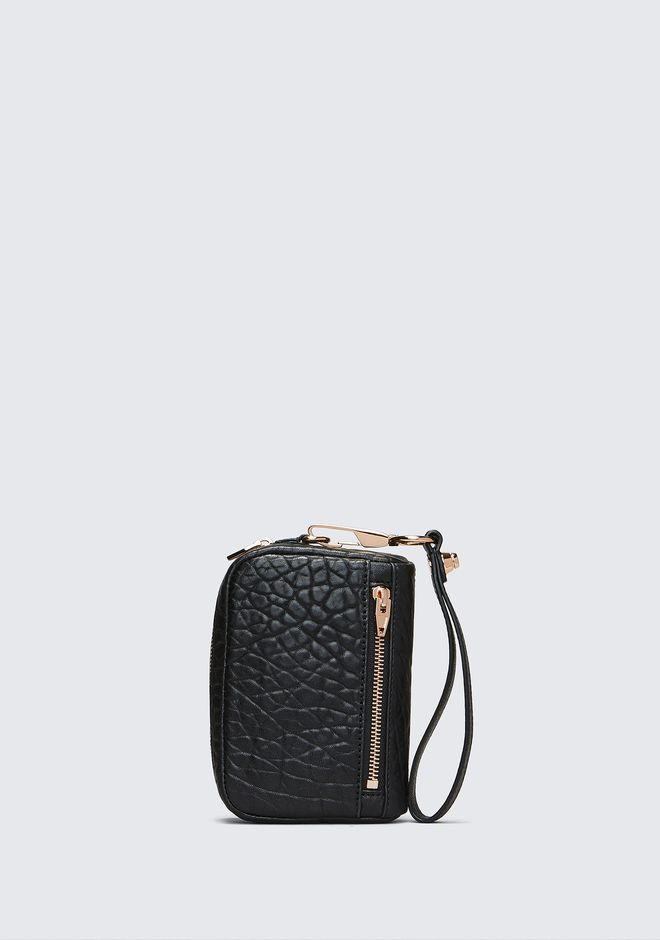 ALEXANDER WANG SMALL LEATHER GOODS Women LARGE FUMO IN PEBBLED BLACK WITH ROSE GOLD