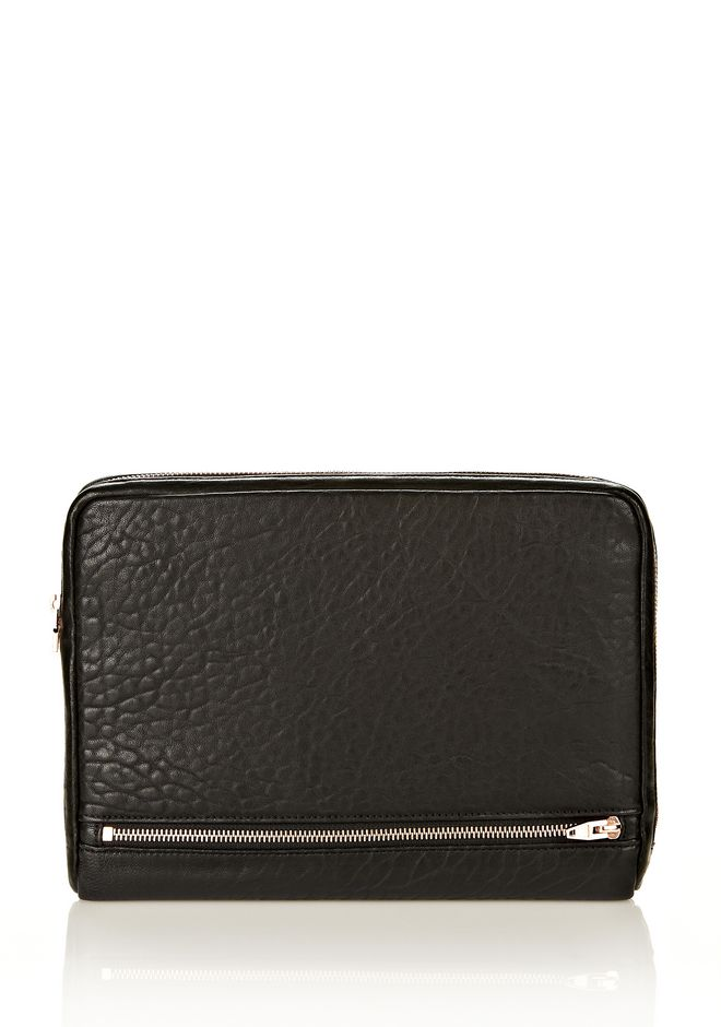 ALEXANDER WANG FUMO IPAD CASE IN  BLACK PEBBLE LEATHER WITH ROSEGOLD TECH Adult 12_n_f
