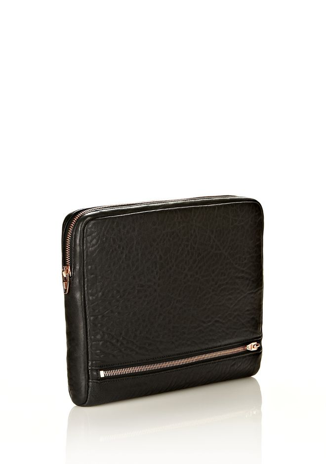 ALEXANDER WANG FUMO IPAD CASE IN  BLACK PEBBLE LEATHER WITH ROSEGOLD TECH Adult 12_n_r