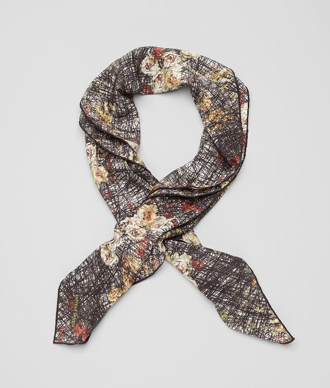 BOTTEGA VENETA Silk Scribble Floral Print Foulard Scarf D fp