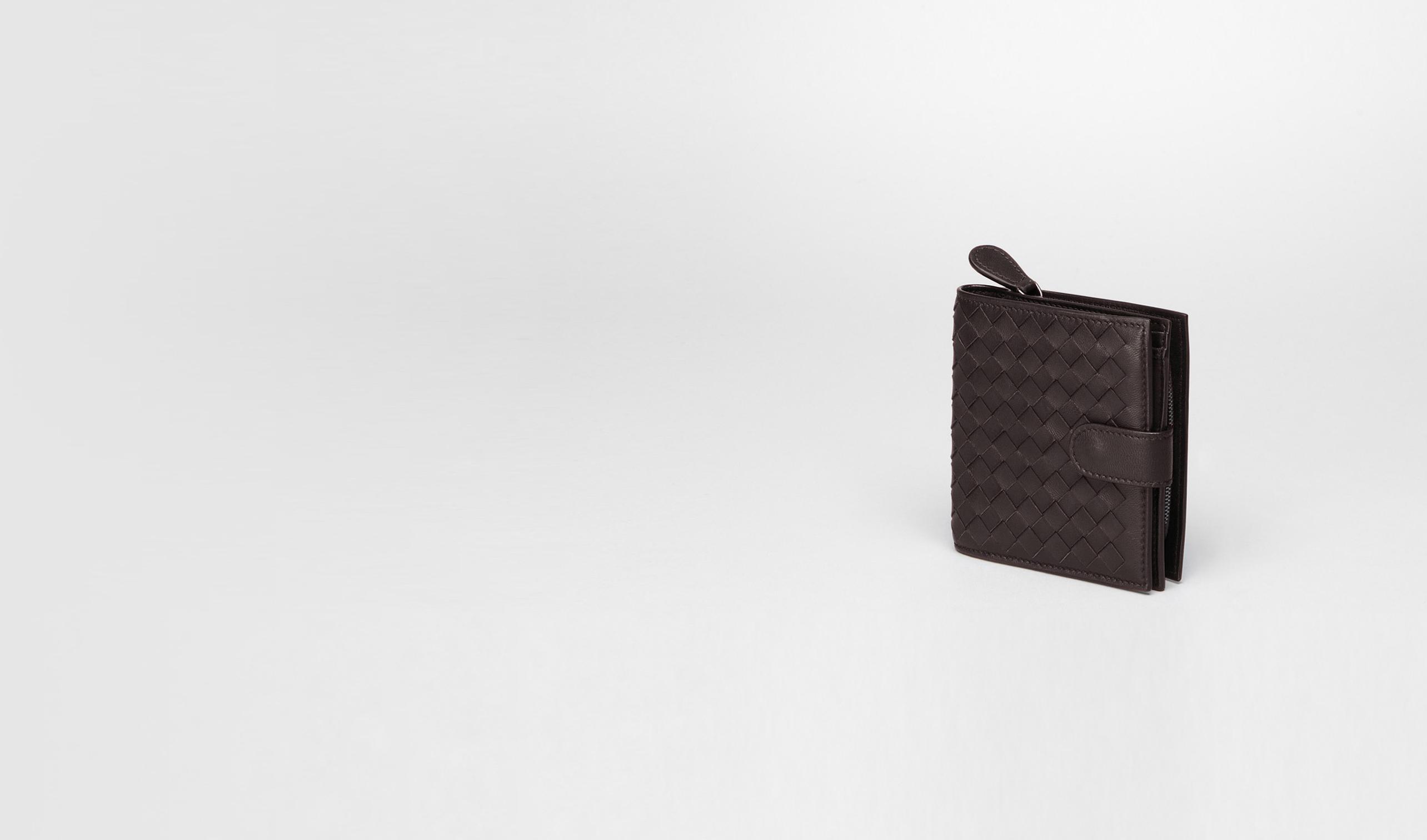 BOTTEGA VENETA Kartenetui oder Geldbörse D Continental Portemonnaie aus Nappaleder Intrecciato Ebano pl
