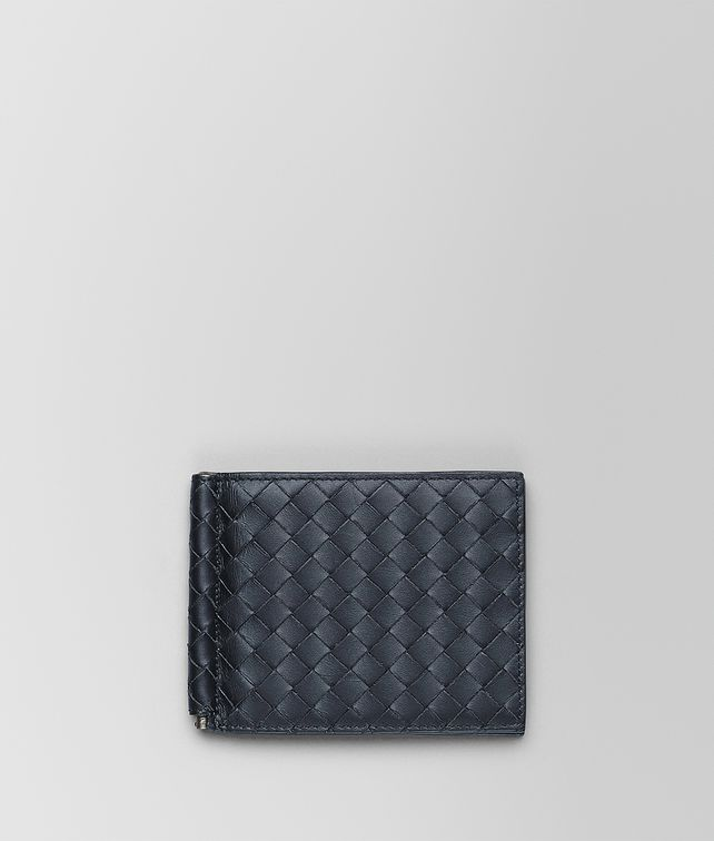 BOTTEGA VENETA LIGHT TOURMALINE INTRECCIATO MONEY CLIP BI-FOLD WALLET Small Wallet Man fp