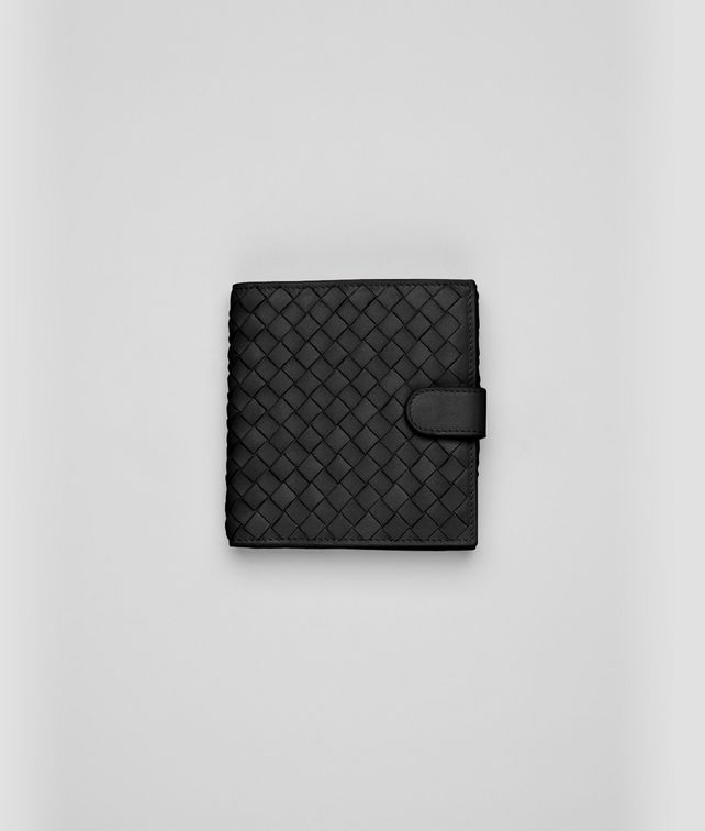 BOTTEGA VENETA Nero Intrecciato Nappa Bi-fold Wallet Mini Wallet or Coin Purse D fp