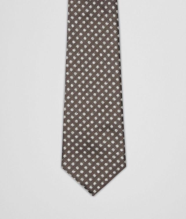 BOTTEGA VENETA Coffee Ivory Silk Tie Tie U fp