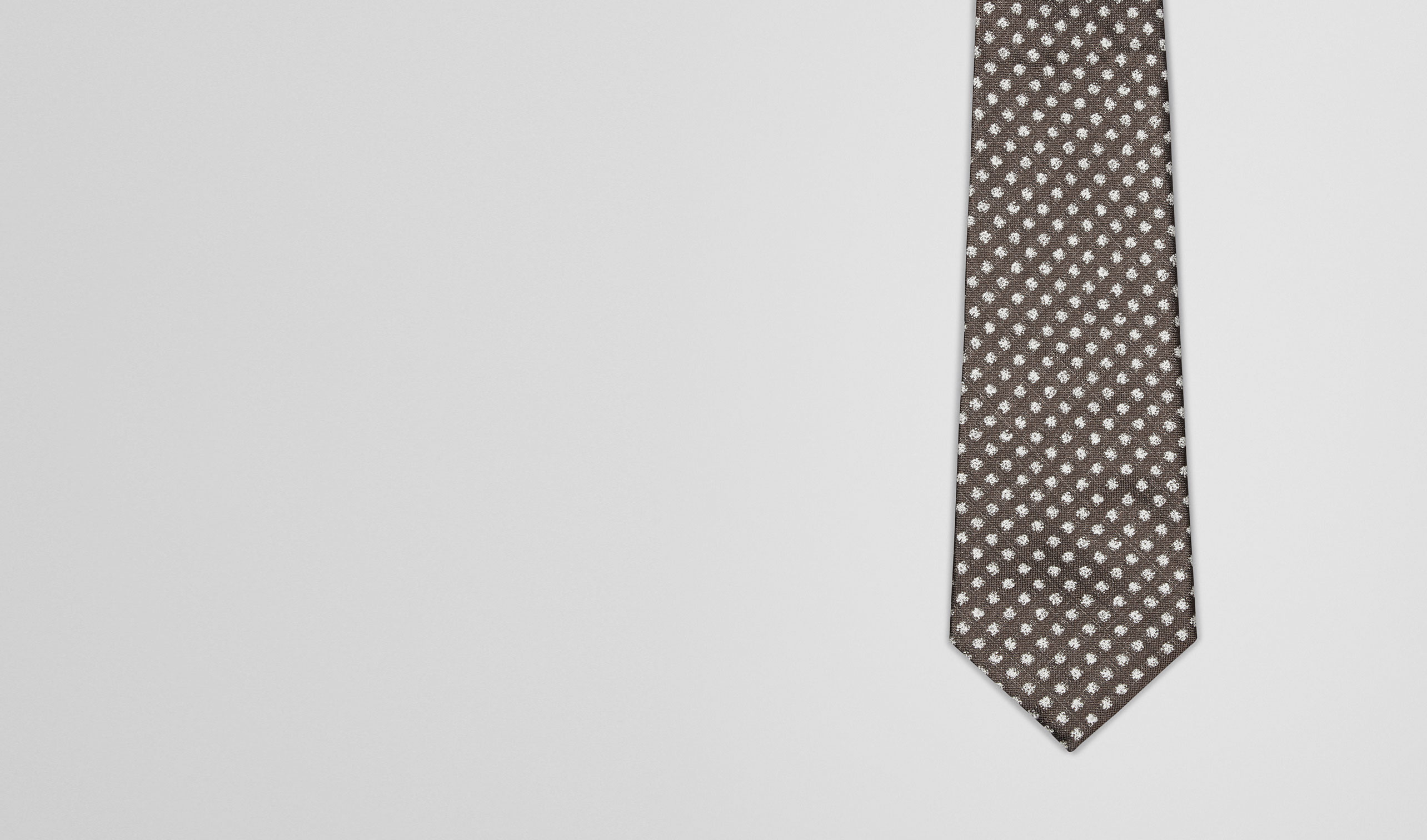BOTTEGA VENETA Tie U Coffee Ivory Silk Tie pl