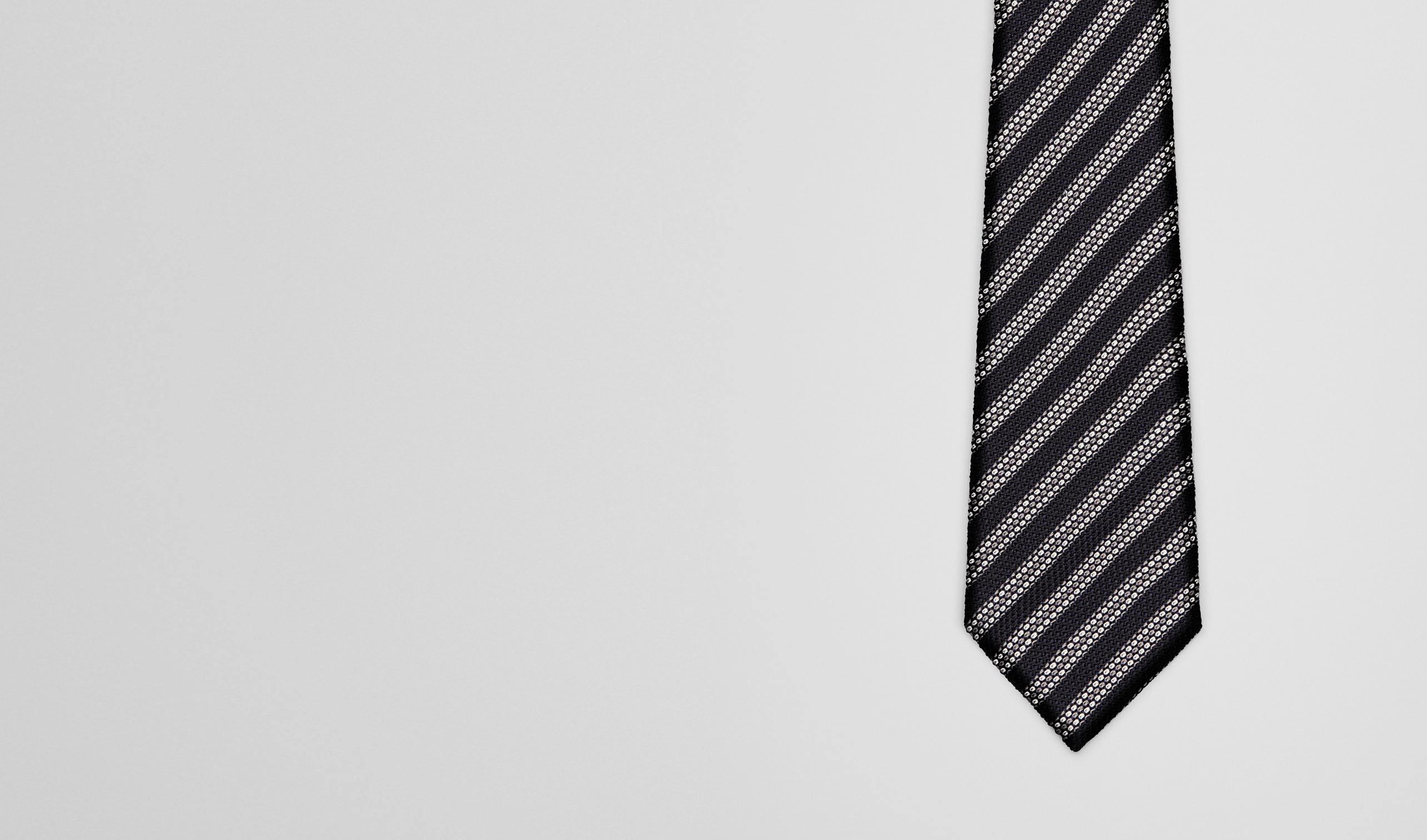 BOTTEGA VENETA Tie U Black Grey Silk Tie pl