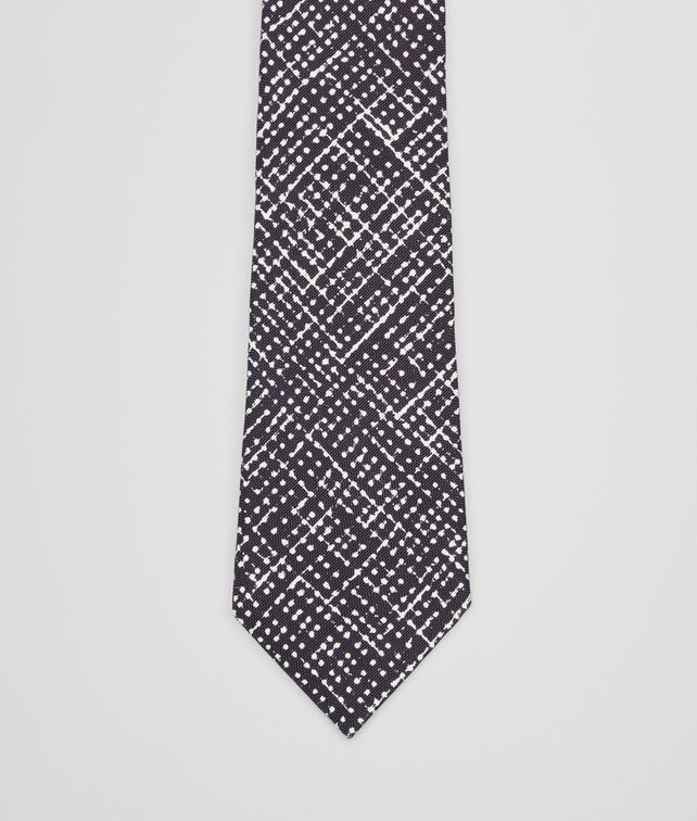 BOTTEGA VENETA Midnight Blue Beige Silk Tie Tie U fp