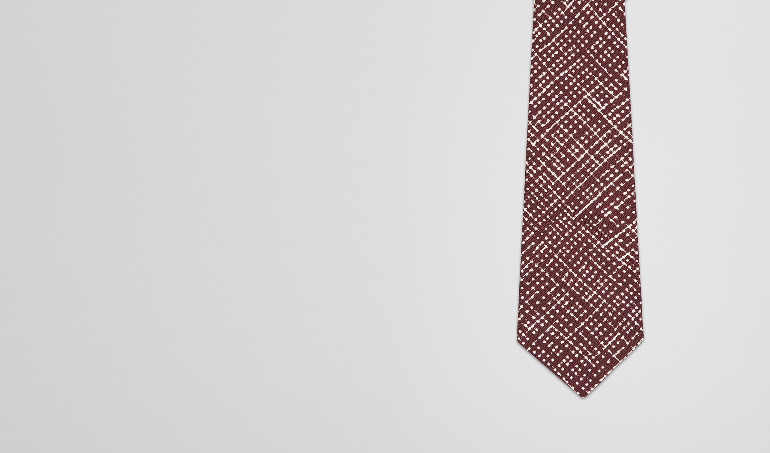 BOTTEGA VENETA Tie U Amaranth Beige Silk Tie pl